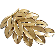 Trifari Gold Tone Leaves Pin