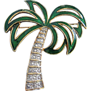 Vintage Enamel and Faux Marcasite Palm Tree Pin Brooch
