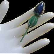 Sandor Midnight Blue Enamel Tulip, Flower Pin
