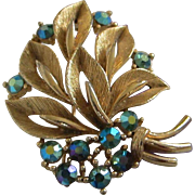 Lisner Cluster of Leaves and Blue Green AB Rhinestones Pin