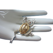 Silver, Gold Tone Frog Pin with Rhinestones and Personality