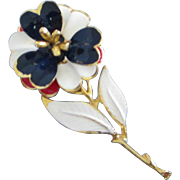 Red, White and Blue Enamel Flower, Patriotic Rose ~ REDUCED!!
