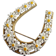 Vintage Enamel Daisy Flowers Good Luck Horseshoe Pin
