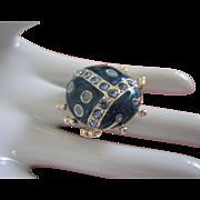 Plump Denim Blue Enamel and Rhinestone Ladybug Insect Bug Pin