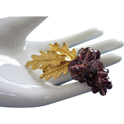 Carolee Cluster of Purple Crystal Grapes Pin