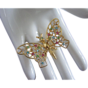 Vintage Rhinestone Butterfly Trembler Pin