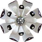 White and Black Enamel Flower Pin Brooch with Polka Dots