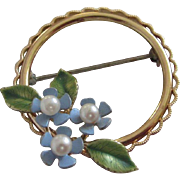 Vintage Krementz Enamel Flowers, Cultured Pearls Pin Brooch