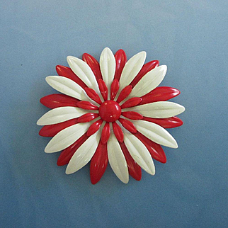 Large Red and White Enamel Flower Pin Brooch