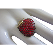 Juicy MONET Red Apple Rhinestone Pin