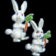 Mama Rabbit & Baby Bunny White Enamel Rabbits Pin, Set of 2