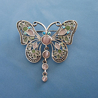 Enamel, Rhinestone and Glass Butterfly Pin