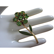 Vintage Peridot Green Rhinestone and Enamel Flower Pin