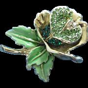 Vintage Emerald and Peridot Rhinestone Enamel Flower Pin Brooch