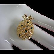 Vintage Petite Rhinestone Pineapple Pin