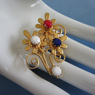 Patriotic Red, White and Royal Blue Milk Glass Flowers Pin