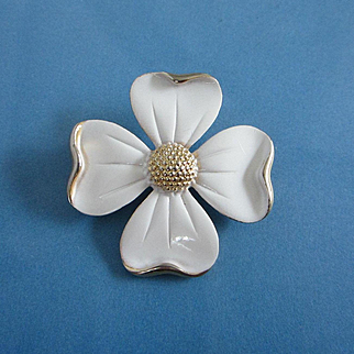 Vintage White Enamel and Gold Tone Dogwood Blossom Pin