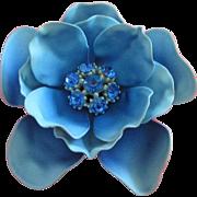 Vintage Sky Blue Enamel Flower Pin with Rhinestones