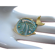 Vintage Turquoise Enamel and Gold Tone Fish Pin