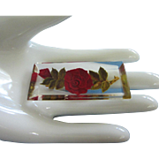 Vintage Reverse Carved Roses In Clear Lucite Pin