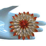 Vintage Tangerine Orange Fade Enamel Flower Pin