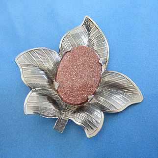 Vintage Gold Tone Leaf Pin with Large Goldstone Cabochon