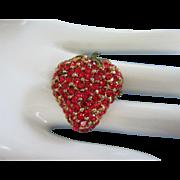 Ruby Red Rhinestone Strawberry Pin