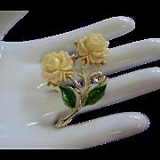 Vintage Ivory Colored Roses, Enamel Flower Pin