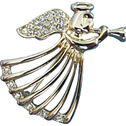 Rhinestone and Gold Tone Trumpet Playing Christmas Angel Pin