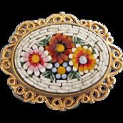 Vintage Micro Mosaic Floral Pin Brooch