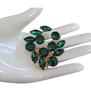 Vintage Emerald Green Rhinestone Pin Brooch