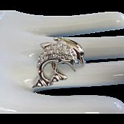 Vintage Dolphin Duo Pin in Silver Tone, Rhinestones