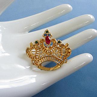 Vintage Gold Tone Rhinestone Crown Pin