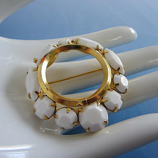 Vintage Milk Glass Gold Tone Pin Brooch