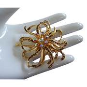Vintage Dark Topaz and AB Rhinestone Free Flowing Flower Pin Brooch