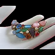 Fabulous Vintage Multi Stone Faux Pearl Pin Brooch