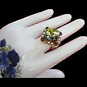 Brilliant Green Rivoli and Rhinestone Ring, Adjustable ~ REDUCED!