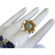 Vintage Flower Ring with Blue Green AB Rhinestones, Adjustable Band