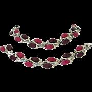 Vintage Purple and Magenta Moonglow Lucite Necklace, Bracelet Set ~ REDUCED!