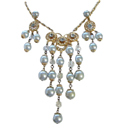 Ice Blue Faux Pearl, Crystals and Rhinestone Necklace, Chandelier Earrings Set ~ REDUCED!