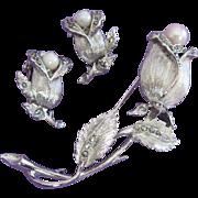 Lisner Marcasite, Faux Pearl Rosebud, Flower Pin Earrings Set ~ REDUCED!