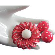 Vintage Pink Enamel Flower Pin, Earrings with Polka Dots Set