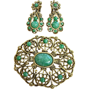 Faux Chrysoprase Thermoset Pin Brooch and Drop Earrings Set ~ REDUCED!