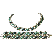 Dark Hunter Green, Sage Green Moonglow Lucite and AB Rhinestone Necklace, Bracelet, Set