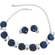 Vintage Coro Midnight Blue Moonglow Lucite Necklace, Earrings