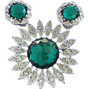 Sarah Coventry Emerald Green and Clear Rhinestone Pin Brooch, Earrings