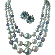 Japan Icy Blues Multi Strand Beaded Necklace and Earrings Set