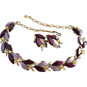Vintage Two Tone Purple Lucite Necklace, Earrings Set