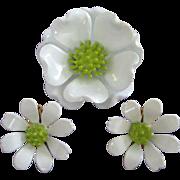 White and Lime Green Enamel Flower Pin, Earrings Set