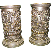 Pair Regency Style Embossed Bronze Vases